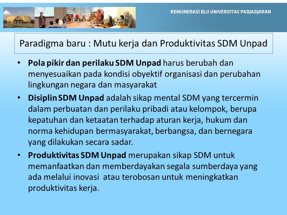 Paradigma baru : Mutu kerja dan Produktivitas SDM Unpad