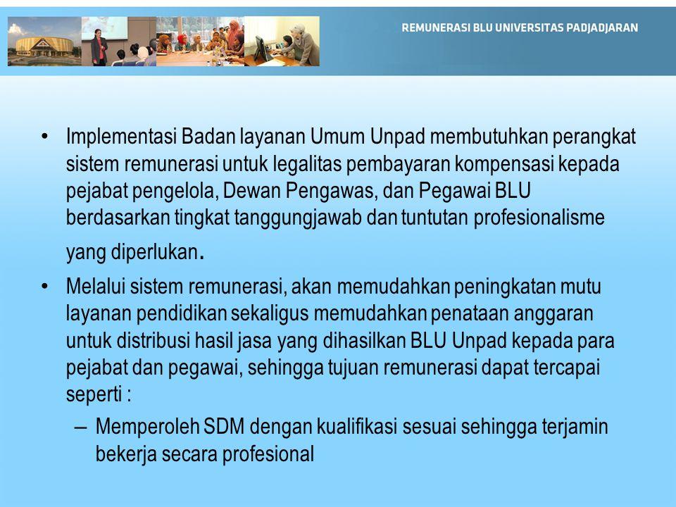 Implementasi Badan layanan Umum Unpad membutuhkan perangkat sistem remunerasi untuk legalitas pembayaran kompensasi kepada pejabat pengelola, Dewan Pengawas, dan Pegawai BLU berdasarkan tingkat tanggungjawab dan tuntutan profesionalisme yang diperlukan.