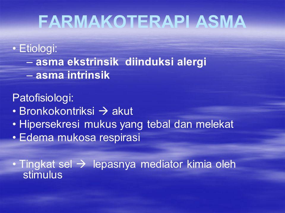 FARMAKOTERAPI ASMA • Etiologi: – asma ekstrinsik diinduksi alergi
