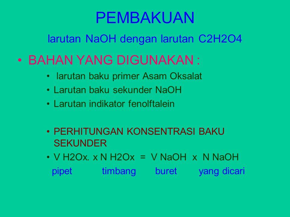 PEMBAKUAN larutan NaOH dengan larutan C2H2O4