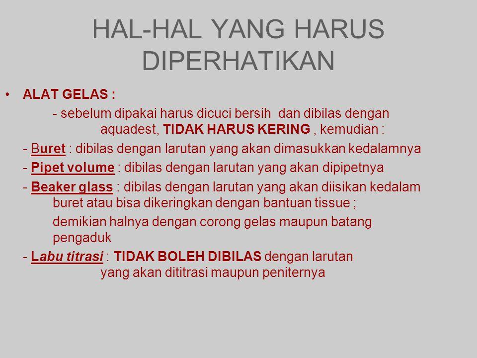 HAL-HAL YANG HARUS DIPERHATIKAN