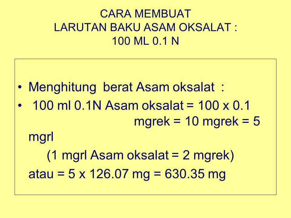 CARA MEMBUAT LARUTAN BAKU ASAM OKSALAT : 100 ML 0.1 N