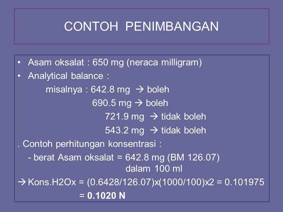 CONTOH PENIMBANGAN Asam oksalat : 650 mg (neraca milligram)