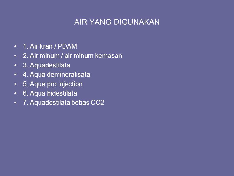 AIR YANG DIGUNAKAN 1. Air kran / PDAM 2. Air minum / air minum kemasan