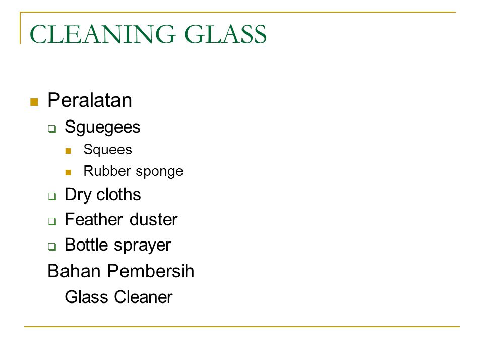 CLEANING GLASS Peralatan Bahan Pembersih Sguegees Dry cloths
