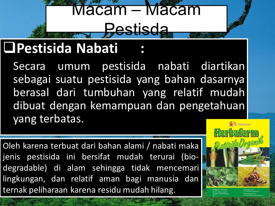 Macam – Macam Pestisda Pestisida Nabati :
