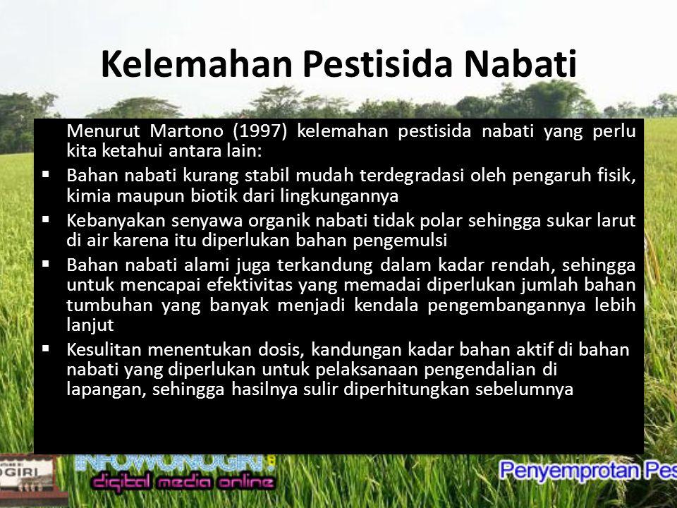 Kelemahan Pestisida Nabati