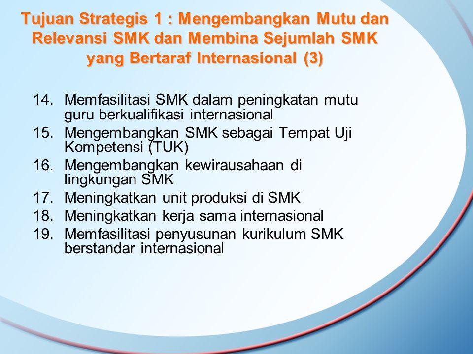 Tujuan Strategis 1 : Mengembangkan Mutu dan Relevansi SMK dan Membina Sejumlah SMK yang Bertaraf Internasional (3)