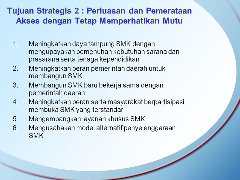 Tujuan Strategis 2 : Perluasan dan Pemerataan Akses dengan Tetap Memperhatikan Mutu