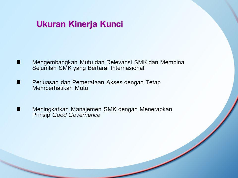 Ukuran Kinerja Kunci Mengembangkan Mutu dan Relevansi SMK dan Membina Sejumlah SMK yang Bertaraf Internasional.