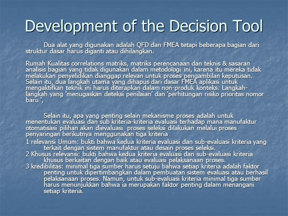 Development of the Decision Tool