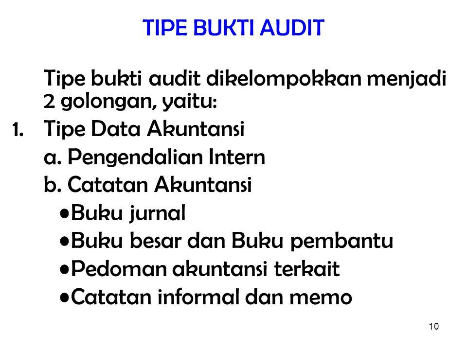 TIPE BUKTI AUDIT Tipe bukti audit dikelompokkan menjadi 2 golongan, yaitu: Tipe Data Akuntansi. a. Pengendalian Intern.