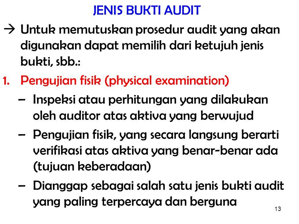 JENIS BUKTI AUDIT  Untuk memutuskan prosedur audit yang akan digunakan dapat memilih dari ketujuh jenis bukti, sbb.: