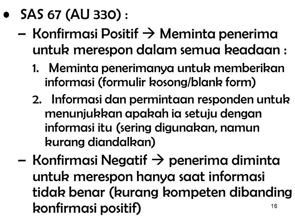 SAS 67 (AU 330) : Konfirmasi Positif  Meminta penerima untuk merespon dalam semua keadaan :
