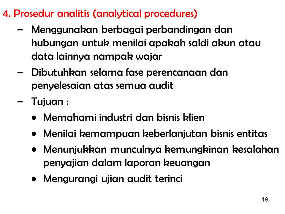 4. Prosedur analitis (analytical procedures)