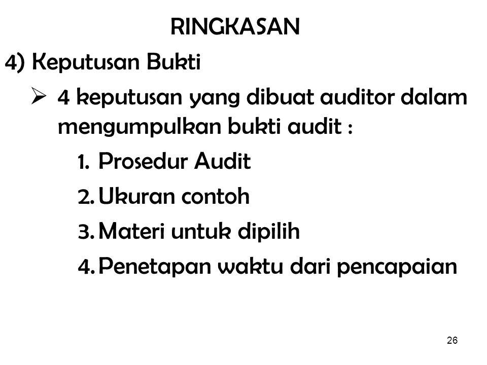 RINGKASAN 4) Keputusan Bukti. 4 keputusan yang dibuat auditor dalam mengumpulkan bukti audit : Prosedur Audit.