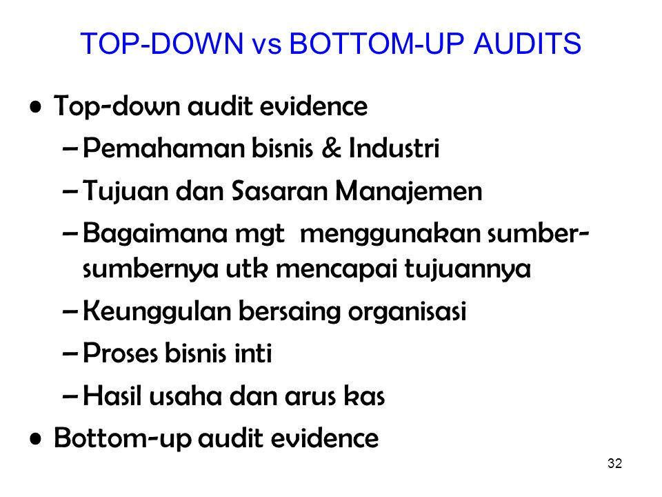 TOP-DOWN vs BOTTOM-UP AUDITS