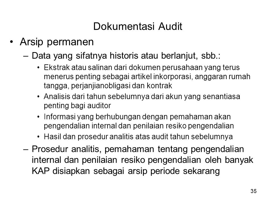 Dokumentasi Audit Arsip permanen