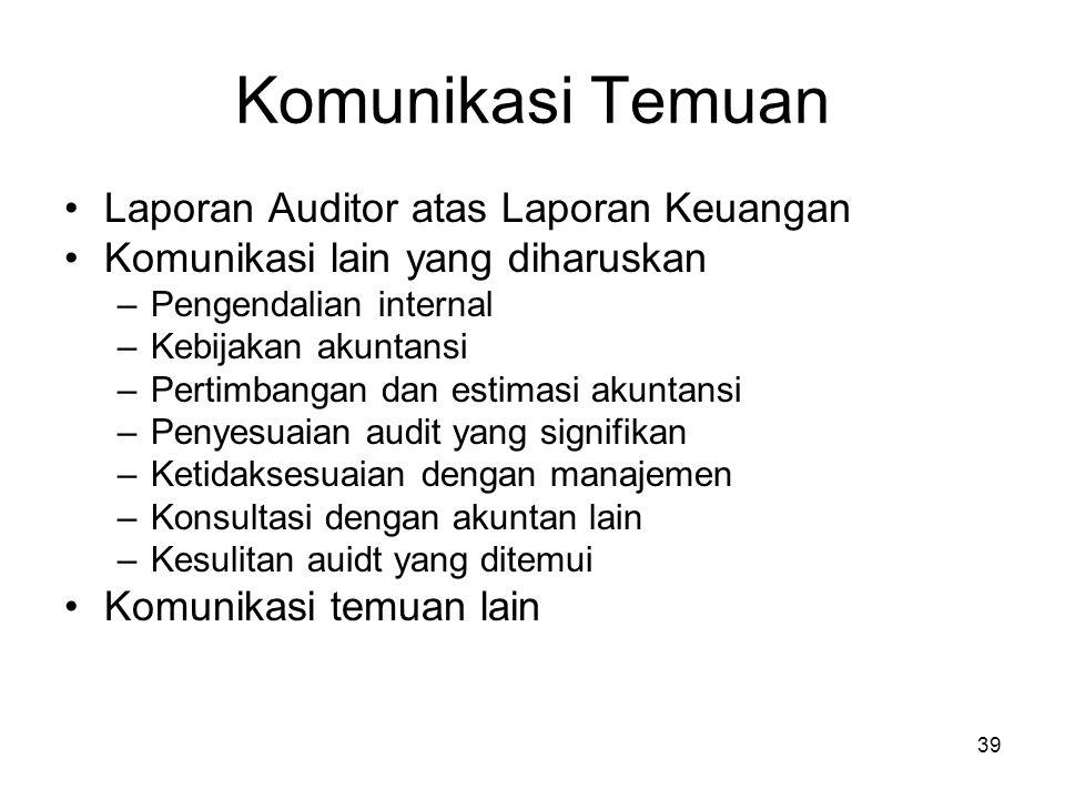 Komunikasi Temuan Laporan Auditor atas Laporan Keuangan