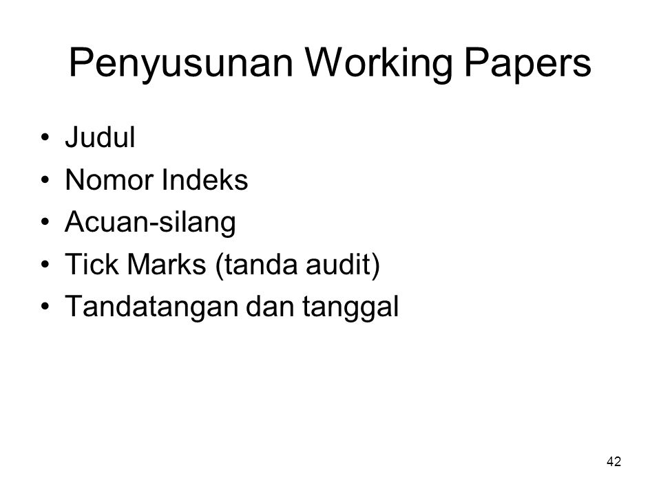 Penyusunan Working Papers