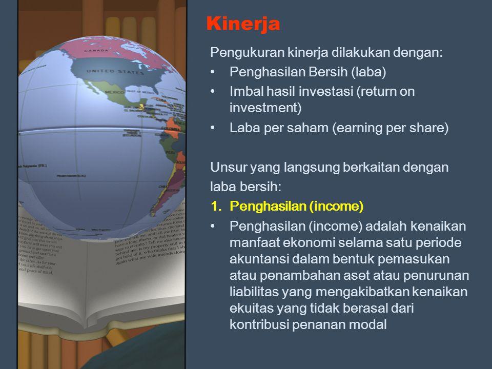 Kinerja Pengukuran kinerja dilakukan dengan: Penghasilan Bersih (laba)
