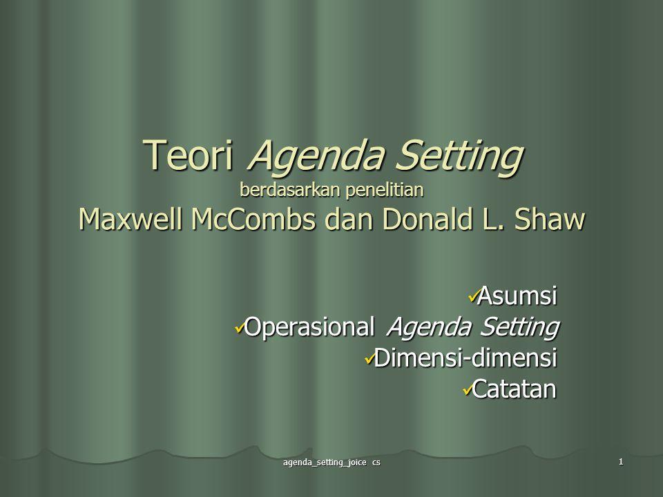 Asumsi Operasional Agenda Setting Dimensi-dimensi Catatan