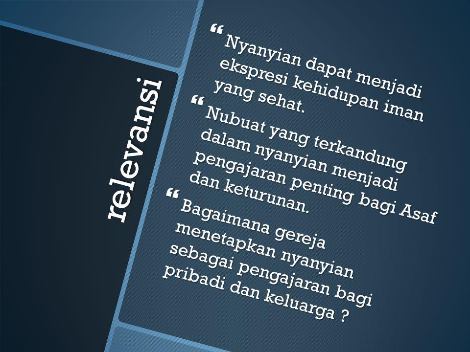 relevansi Nyanyian dapat menjadi ekspresi kehidupan iman yang sehat.