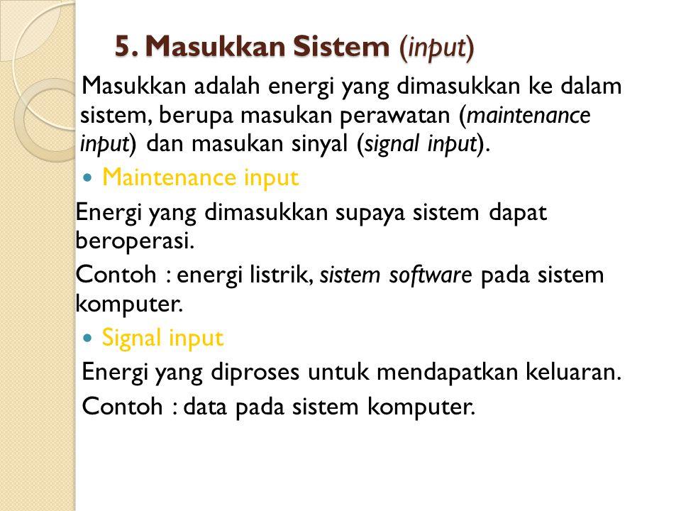 5. Masukkan Sistem (input)