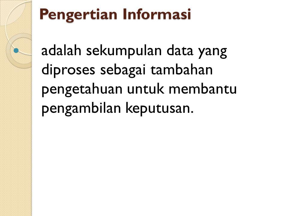 Pengertian Informasi adalah sekumpulan data yang diproses sebagai tambahan pengetahuan untuk membantu pengambilan keputusan.