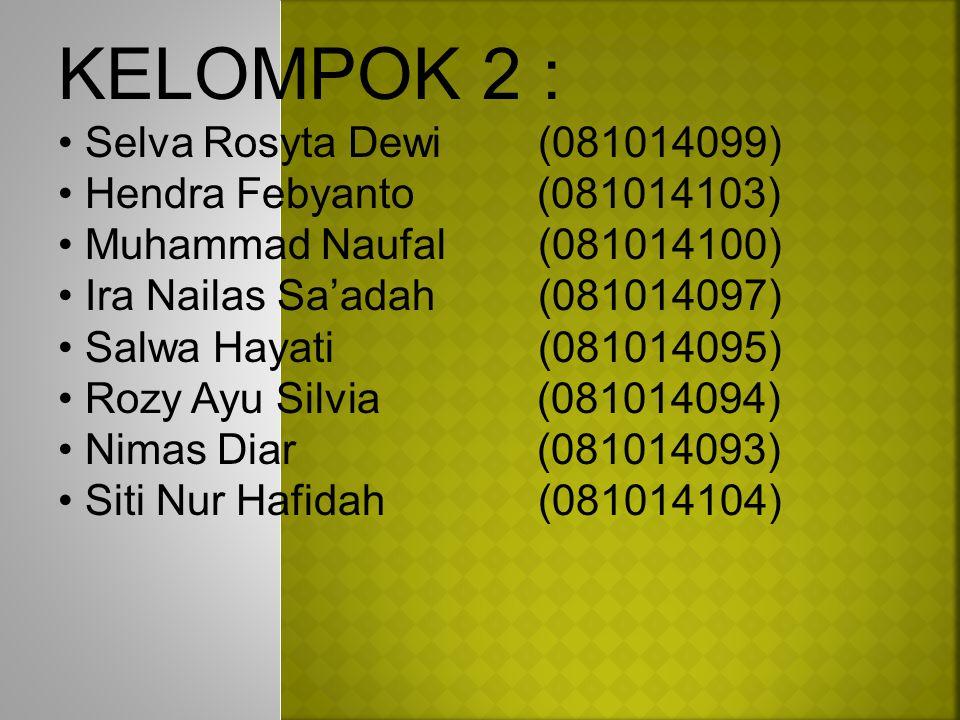 KELOMPOK 2 : Selva Rosyta Dewi (081014099) Hendra Febyanto (081014103)