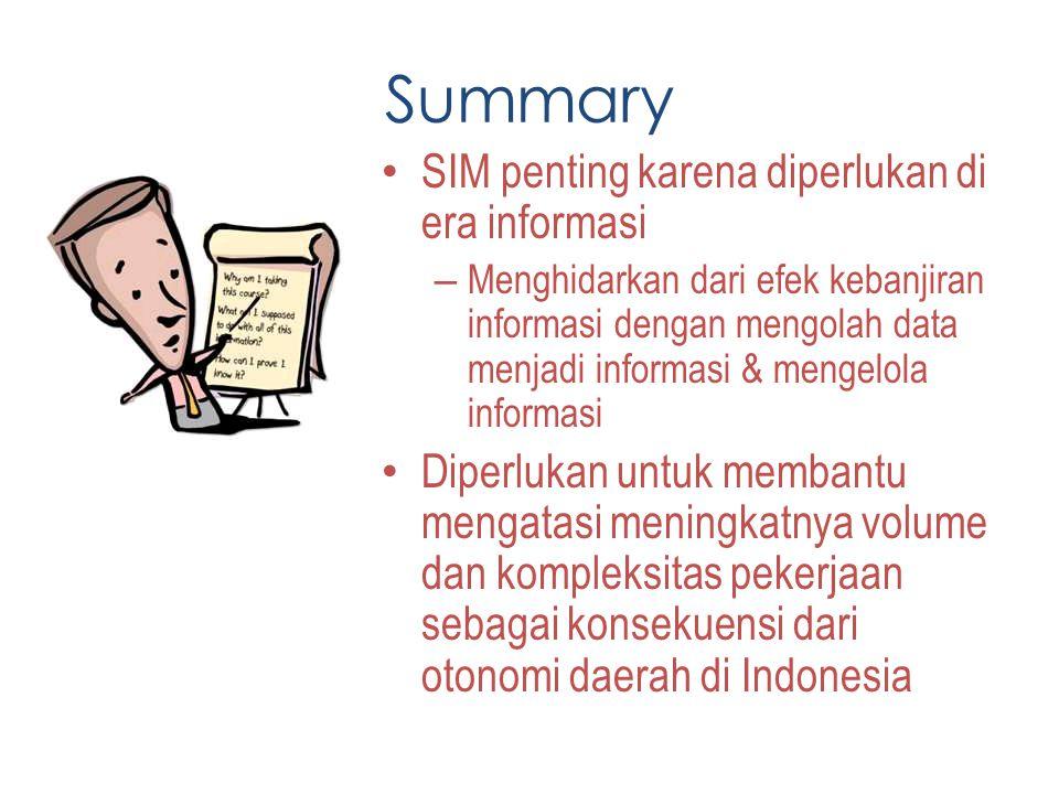 Summary SIM penting karena diperlukan di era informasi
