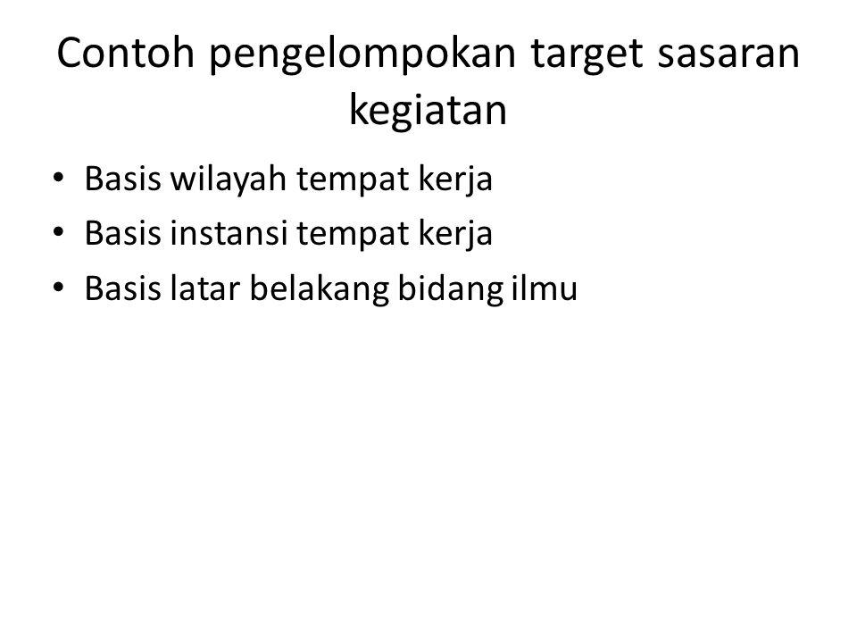 Contoh pengelompokan target sasaran kegiatan