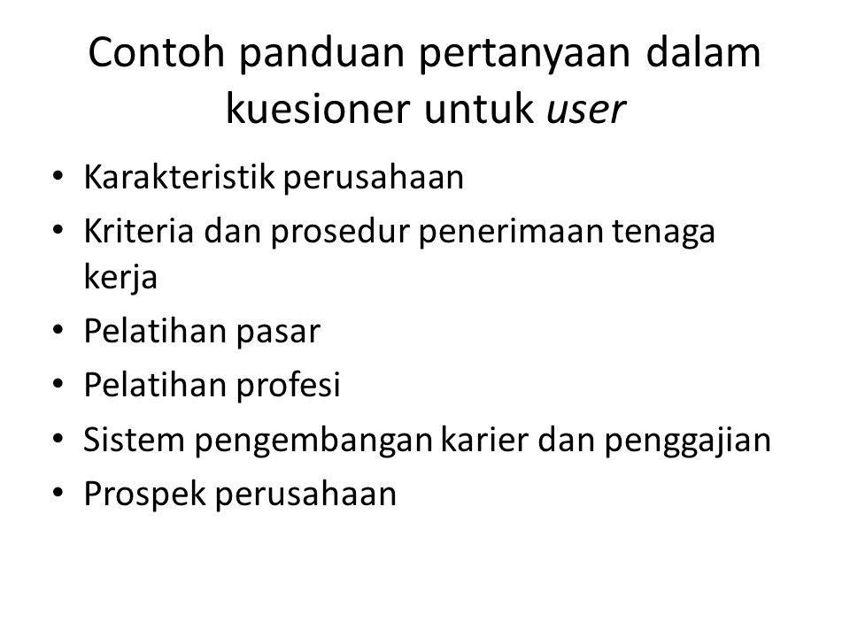 Contoh panduan pertanyaan dalam kuesioner untuk user