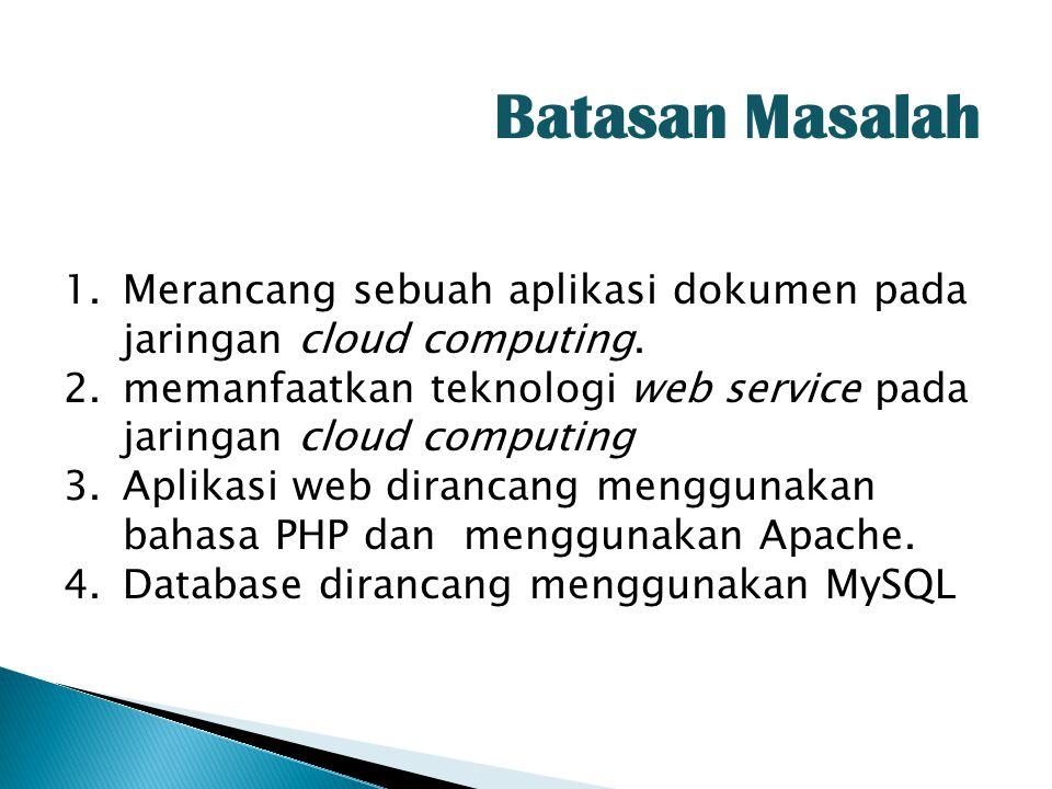 Batasan Masalah Merancang sebuah aplikasi dokumen pada jaringan cloud computing. memanfaatkan teknologi web service pada jaringan cloud computing.