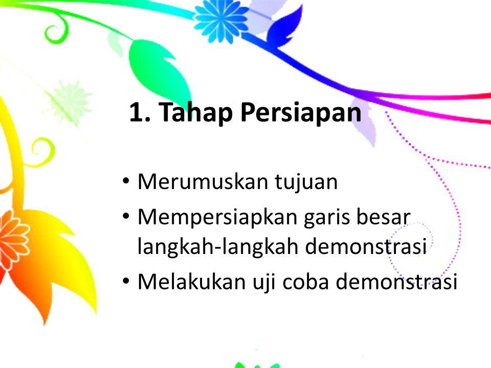 1. Tahap Persiapan Merumuskan tujuan