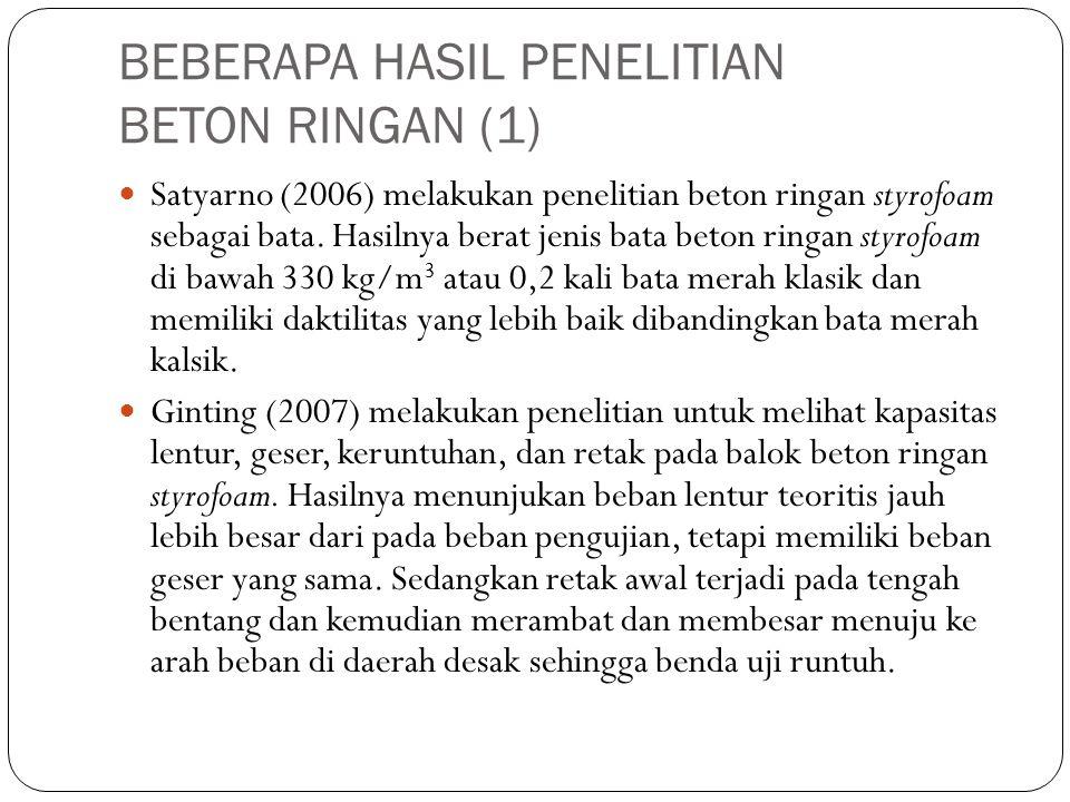 BEBERAPA HASIL PENELITIAN BETON RINGAN (1)