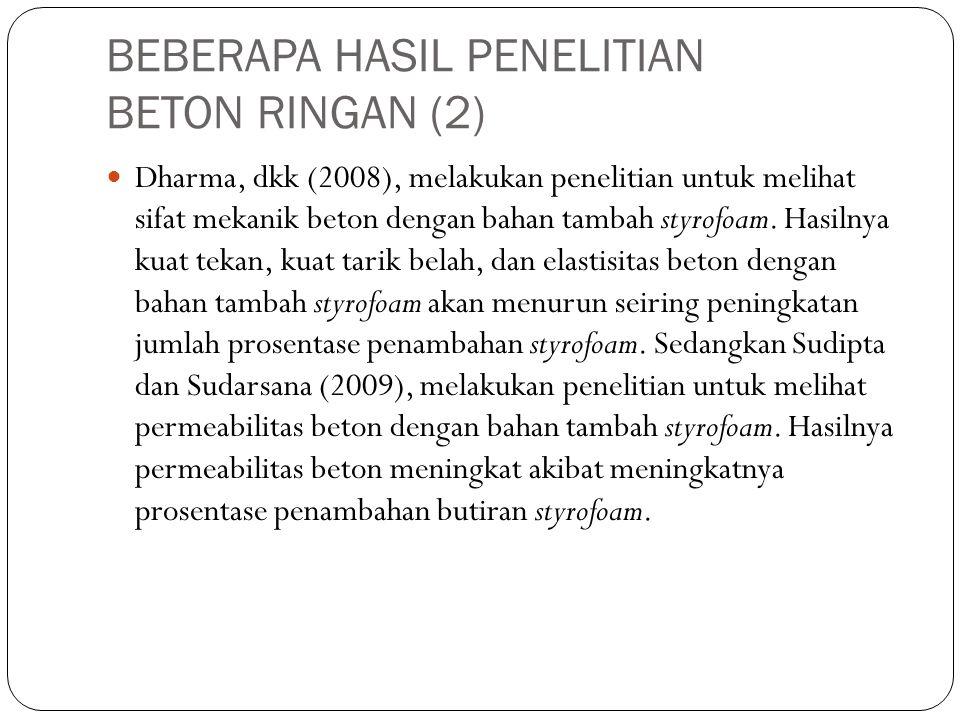 BEBERAPA HASIL PENELITIAN BETON RINGAN (2)