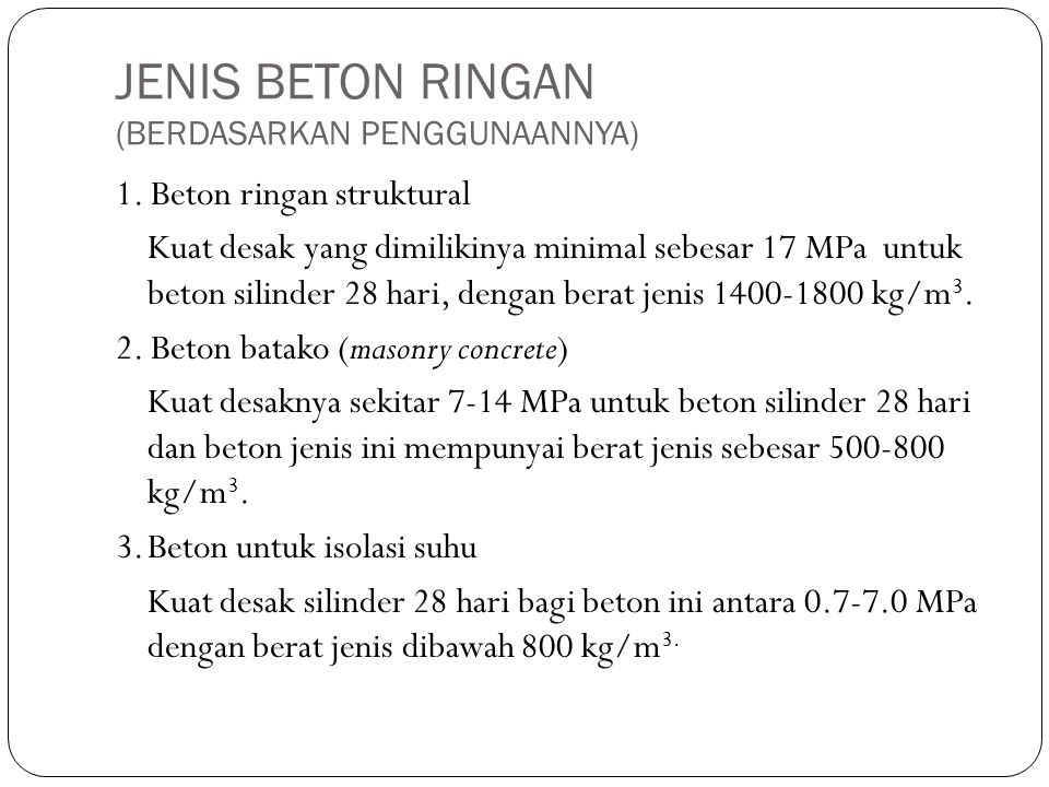 JENIS BETON RINGAN (BERDASARKAN PENGGUNAANNYA)