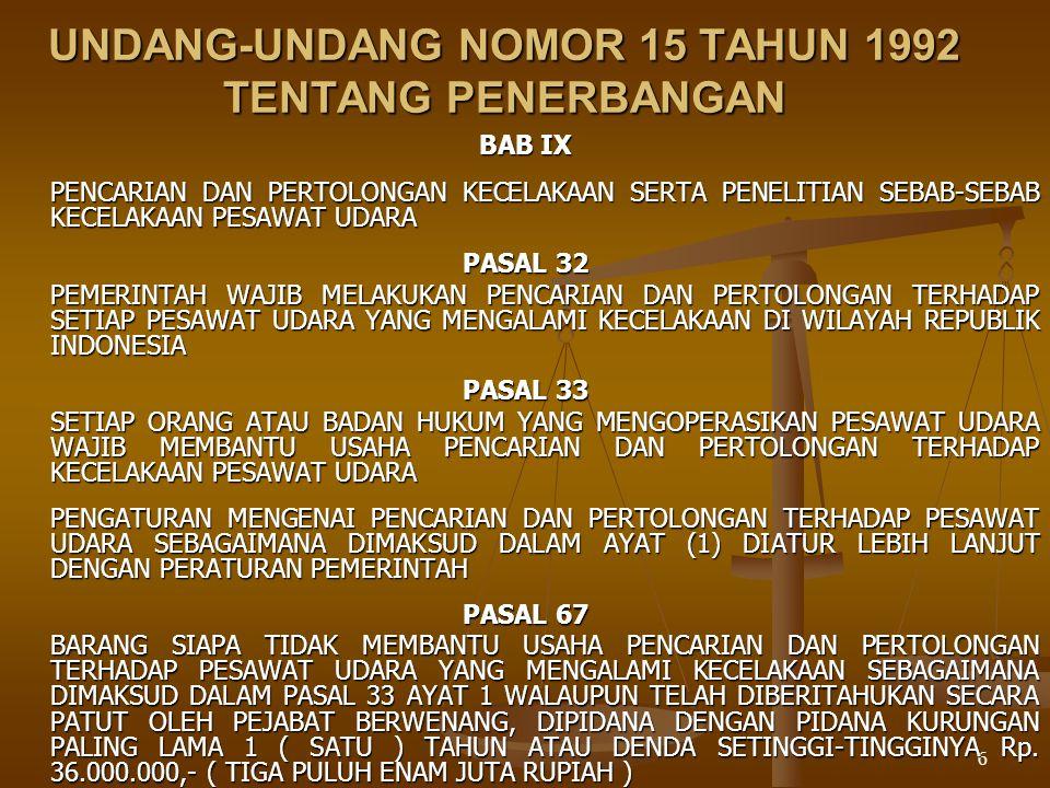 UNDANG-UNDANG NOMOR 15 TAHUN 1992 TENTANG PENERBANGAN