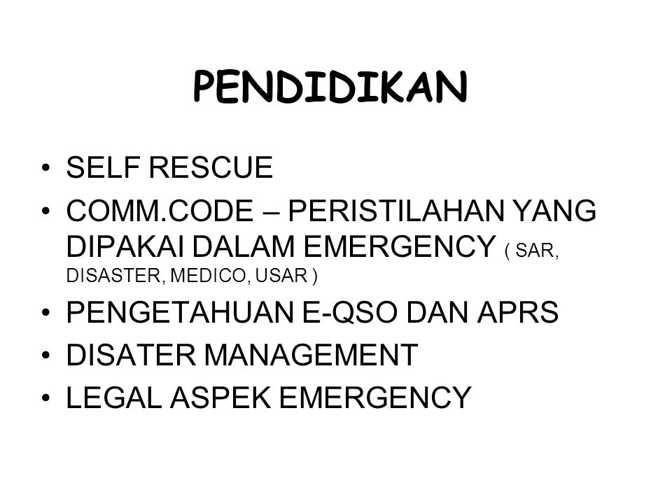 PENDIDIKAN SELF RESCUE
