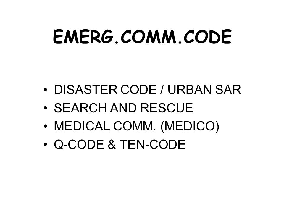 EMERG.COMM.CODE DISASTER CODE / URBAN SAR SEARCH AND RESCUE