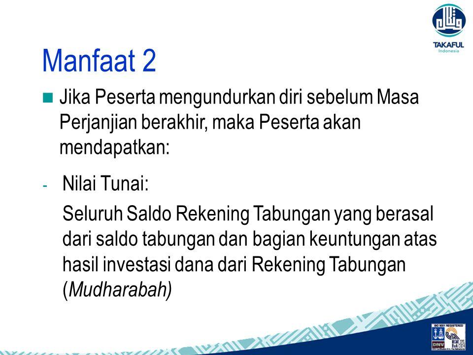 Manfaat 2 Jika Peserta mengundurkan diri sebelum Masa Perjanjian berakhir, maka Peserta akan mendapatkan: