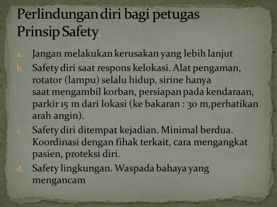 Perlindungan diri bagi petugas Prinsip Safety.