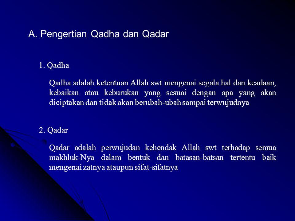 A. Pengertian Qadha dan Qadar