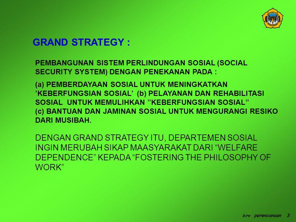 GRAND STRATEGY : PEMBANGUNAN SISTEM PERLINDUNGAN SOSIAL (SOCIAL SECURITY SYSTEM) DENGAN PENEKANAN PADA :