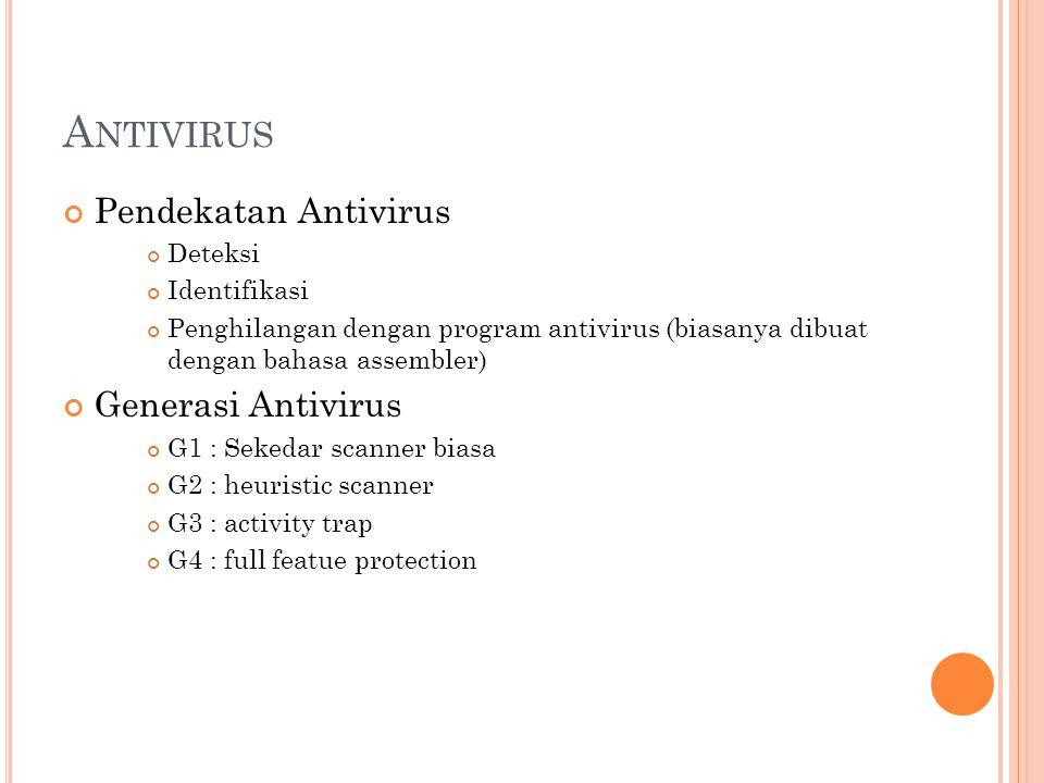 Antivirus Pendekatan Antivirus Generasi Antivirus Deteksi Identifikasi