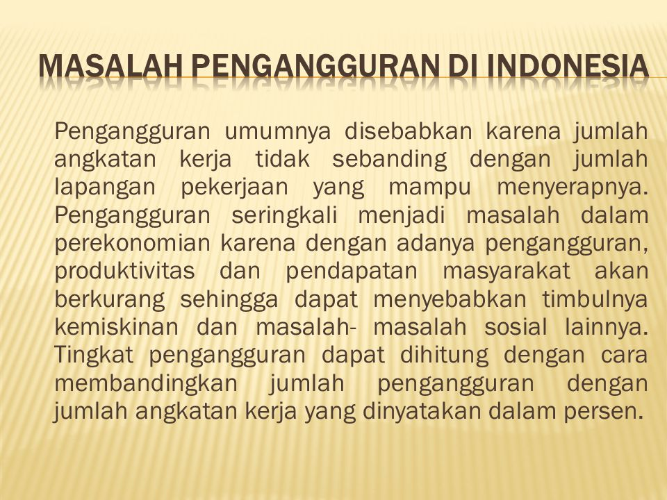 Masalah Pengangguran di Indonesia