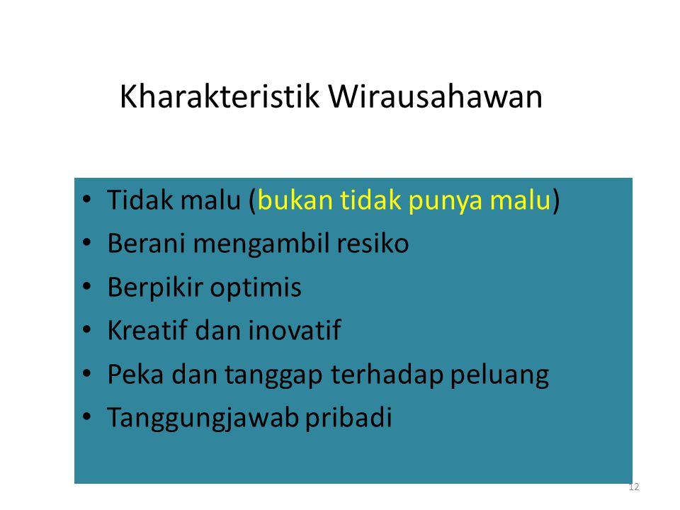 Kharakteristik Wirausahawan