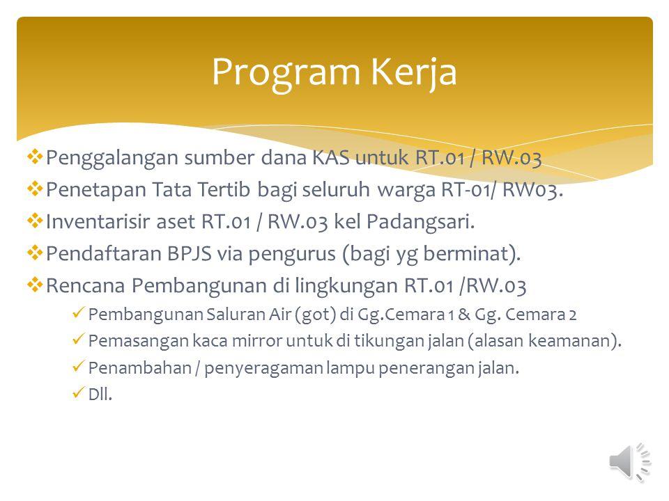 Program Kerja Penggalangan sumber dana KAS untuk RT.01 / RW.03