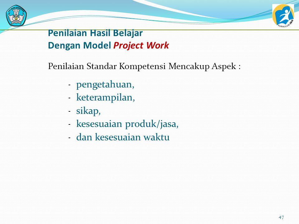 Penilaian Hasil Belajar Dengan Model Project Work